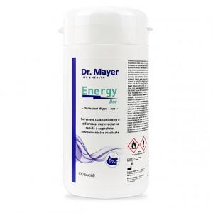Servetele Dezinfectante Suprafete cu Alcool Dr. Mayer Energy Box, Cutie 100 Buc.