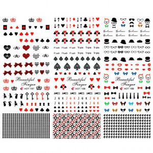 Stickere Unghii pe Baza de Apa, 3 Seturi, HOT 187 - HOT 188