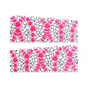 Stickere Unghii pe Bază de Apă, Model FLOWERS PINK, Cod LR-993 (Abtibilduri Unghii - Tatuaje Unghii - Nail Stickere - Water Nail Art)