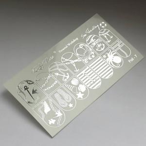 """Abtibilduri Unghii pe Bază de Apă, Model """"MARINE"""", Cod Foil-7 Silver, Accesorii Manichiura Nail Art"""