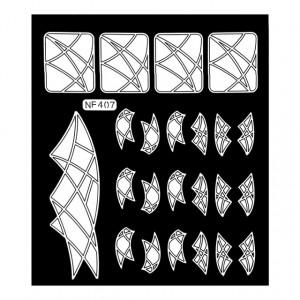 Abtibilduri Unghii, Culoare Alb, Cod NF407, Abtibilde Profesionale Unghii, Stickere Unghii Albe