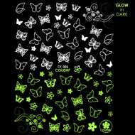Abtibilde Unghii Glow in Dark Florescente in Intuneric Butterfly Flowers CY-006