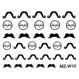Abtibilde Unghii Mustati Negre, MZ-W10 (Abtibilduri Unghii - Tatuaje Unghii - Nail Stickere)
