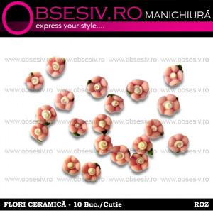 Flori Ceramica Unghii 10 Buc. - ROZ - Decoraţiuni Unghii www.obsesiv.ro