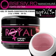Gel UV 3in1 Baza, Constructie si Finish (Pink) 30ml - Royal Femme