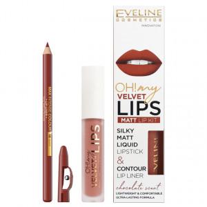 Luciu Mat si Contur Buze Eveline Cosmetics OH My Velvet Lips Matt No 12 Praline Eclair