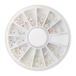 Pietricele Albe cu Reflexii Multicolore, Disc Nail Art