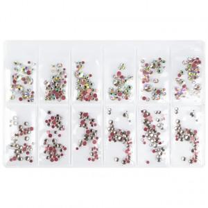Pietricele Tip Swarovski, Marimi Diferite, Reflexii Argintii / Multicolore