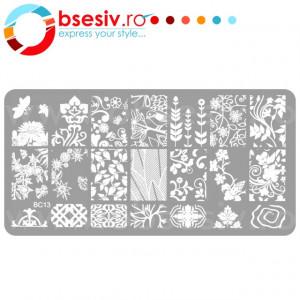 Stampile Unghii, Suport Metalic, BC13, Matrite Unghii Gravate Adanc