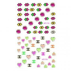 Stickere Unghii 6 Seturi - Abțibilde Colorate Unghii ( MZTJ729 - MZTJ730 - MZTJ733 - MZTJ734 - MZTJ737 - MZTJ738)