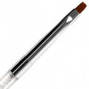 Pensula Dreapta Gel, Nr #4 Fasio, Maner Transparent cu Cristale