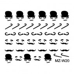 Abtibilde Unghii Mustati Negre, MZ-W20 (Abtibilduri Unghii - Tatuaje Unghii - Nail Stickere)