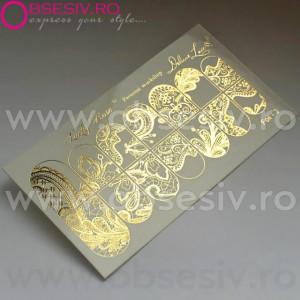 """Abtibilduri Unghii pe Bază de Apă, Model """"ORNAMENTS"""", Cod Foil-3 Gold, Accesorii Manichiura Nail Art"""