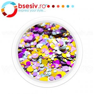 Confetti Unghii, Model 'Buline', Efect Metalizat, Cod CU-04