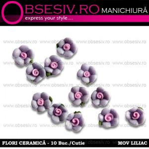 Flori Ceramica Unghii 10 Buc. - MOV LILIAC - Decoraţiuni Unghii www.obsesiv.ro