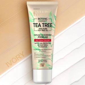 Fond de Ten cu Protectie Antibacteriana Vegan 100% Pure Tea Tree Oil Eveline Cosmetics 02 Ivory