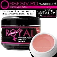 Gel UV 2in1 Baza si Constructie (French Pink) 30ml - Royal Femme