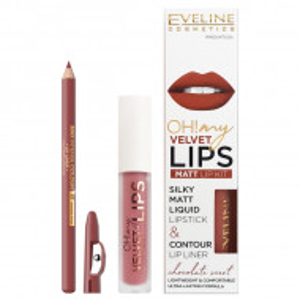 Luciu Mat si Contur Buze Eveline Cosmetics OH My Velvet Lips Matt No 13 Brownie Biscotti