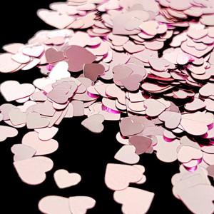 Paiete Unghii cu Efect Oglinda Culoare Roz Model Inimi, Accesorii Unghii Nail Art