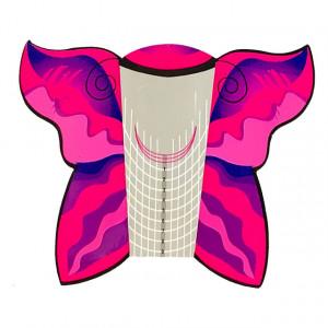 Sablon Prelungit Unghii Rola, Forma Fluture, Cantitate 300 Bucati Roz