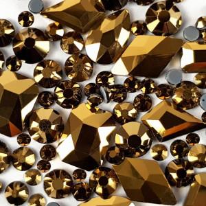 Cristale Unghii Marimi si Forme Diferite, Reflexii Aurii