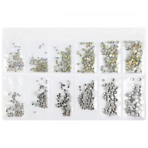 Pietricele Unghii, 6 Marimi Diferite, Reflexii Argintii / Multicolore