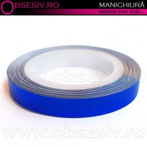 Banda Decor Unghii Zig-Zag, Culoare Albastru Ultramarin, Role Ornamentale Manichiura