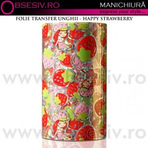 Folie Decorativa Transfer Manichiura, Happy Strawberry