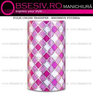 Folie Decorativa Transfer Manichiura, Rhombus Fuchsia