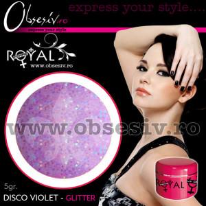Gel colorat unghii Royal Femme DISCO VIOLET GLITTER (Geluri Profesionale Unghii)