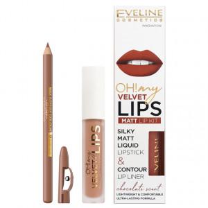 Luciu Mat si Contur Buze Eveline Cosmetics OH My Velvet Lips Matt No 14 Choco Truffle