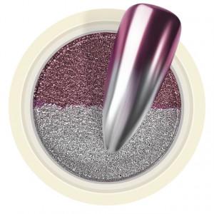 Pigment Pudra Chrome Dual Color, Culori Argintiu Roz Mineral
