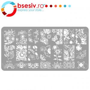 Stampile Unghii, Suport Metalic, BC20, Matrite Unghii Gravate Adanc