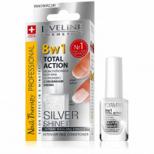 Tratament Unghii 8 in 1 Total Action Silver Shine Eveline Cosmetics, Regenerare Instant cu Particule de Argint