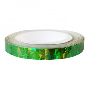 Banda Adeziva Unghii Zig Zag, Verde cu Reflexii Multicolore