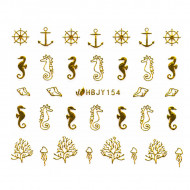 Abtibilde Unghii cu Motive Decorative Marine, Golden Navigators HBJY154