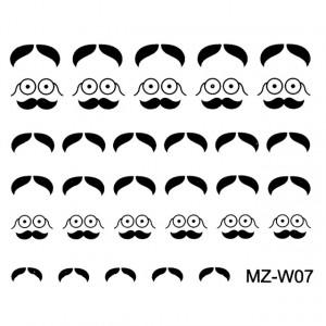 Abtibilde Unghii Mustati Negre, MZ-W07 (Abtibilduri Unghii - Tatuaje Unghii - Nail Stickere)