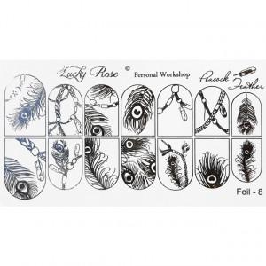 Abtibilduri Unghii pe Bază de Apă, Model PEACOCK FEATHER, Cod Foil-8 Silver, Accesorii Manichiura Nail Art