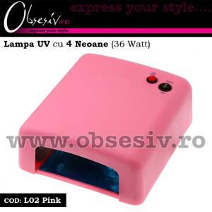 Lampa UV unghii gel cu 4 neoane 36 Watt - L02 Pink