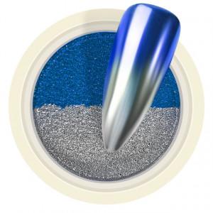 Pigment Pudra Chrome Dual Color, Culori Argintiu Albastru