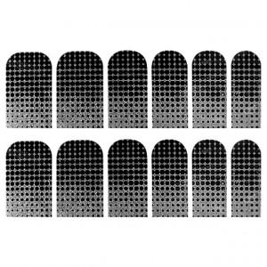 Abtibilde Unghia Intreaga 12 Buc, Dots & Silver, Stickere Unghii