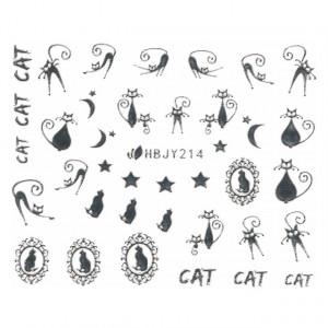 Abtibilde Unghii cu Motive Decorative Pisici, Silver Cats HBJY214