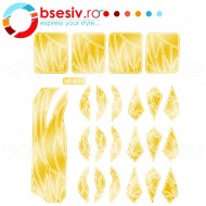 Abtibilduri Unghii, Culoare Auriu, Cod NF405, Abtibilde Profesionale Unghii, Stickere Unghii Auriu