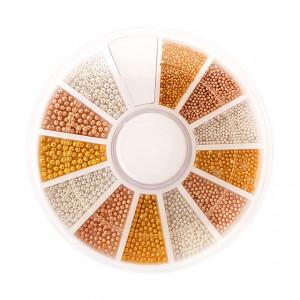 Caviar Metalizat Unghii Auriu Bronz Perla, Disc Nail Art