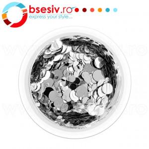 Confetti Unghii, Cod CU-A, Culoare Argintiu, Model 'Buline Mixte', Paiete Unghii, Accesorii Nail Art Manichiura