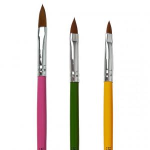 Pensule Acryl Set (3pensule), Rosu Galben Verde - Pensule Acryl Manichiura