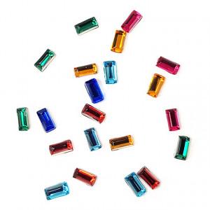 Pietricele Unghii Multicolore in Forma Dreptunghiulara si 12 Culori