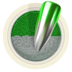 Pigment Pudra Chrome Dual Color, Culori Argintiu Verde