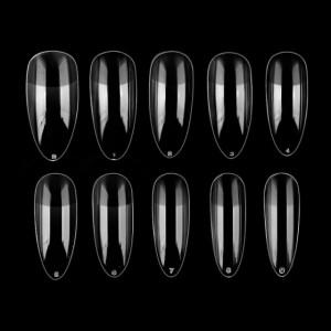 Tipsuri Unghii Migdala cu Pat de Lipire Culoare Transparent 100 Buc