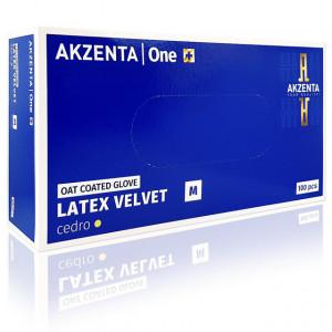 Manusi Examinare din Latex Velvet Oat Coated Cedro Akzenta 100 Buc